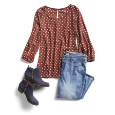 Easy Fall Outfit Ideas - this looks super cute, all of it!  Could swap out jeans with navy pants for work. Stitch Fit, Stitch Fix Fall, Simple Fall Outfits, Fall Outfits 2018, Cute Outfits, Casual Outfits, Navy Boots, Purple Boots, Fall Tops