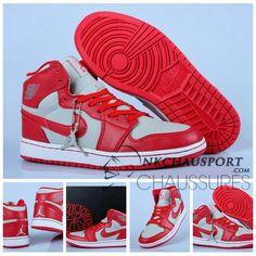 sports shoes 58954 73853 Nike Air Jordan 1   Classique Chaussure De Basket Homme Grise Rouge