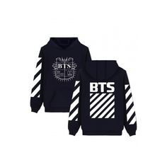 097ebf3782b Hot Fashion Striped Symbol BTS Letter Print Long Sleeves Pullover... (£24)  ❤ liked on Polyvore featuring tops