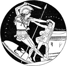 Achilles and Troilos. Clay. Red-figure kylix, interior. Attic. Signed by Euphronios as painter.Perugia, National Archaeological Museum of Umbria.