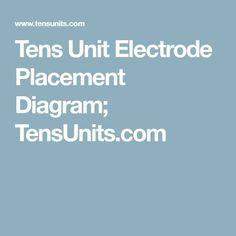 Tens Electrode Placement, Tens Unit Placement, Pain Relief, Helpful Hints, Medical, The Unit, Diagram, Health, Useful Tips