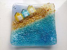 Beside the Seaside Fused Glass Trinket Bowl by BlueFairyDesigns