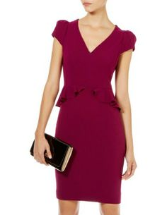Morpheus Boutique  - Burgundy Pleated V Neck Cap Sleeve Ruffle Pencil Dress