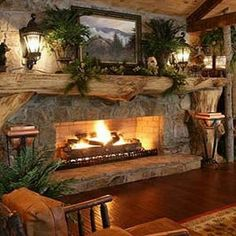Fireplace for log cabin house.