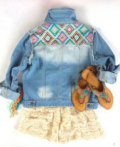 Embroidered Jean Jacket - Pink Pineapple Shop