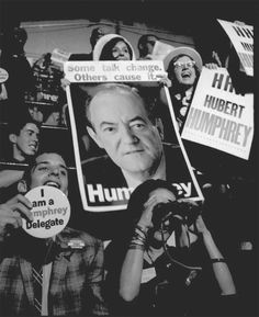 Hubert Humphrey delegates show their love at the 1968 Democratic National Convention in Chicago. Humphrey, then-vice president, was nominated to be the party's presidential candidate, along with Maine Senator Edmund S. Muskie as the...