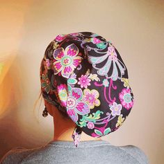Beautiful Large Floral Print and Charcoal Scrub Hat