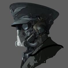 Drone Design : ArtStation mech head j K Armor Concept, Concept Art, Character Concept, Character Art, Science Fiction, Cyberpunk Kunst, Steampunk, Sci Fi Armor, Pulp