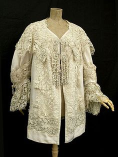 Unlabeled silk coat trimmed with handmade Cluny lace, c.1900.