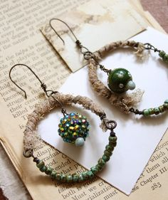 assemblage earrings with textile and green beads by nearlylost, $31.00