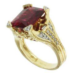 Michael Valitutti 18k Yellow Gold Rubelite, Ruby and Diamond Ring
