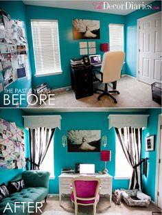 Cute office makeover at The Decor Diaries By Scarlett Lillian Tiffany blue, black, and white for the office/guest bedroom. with a hint of pink? I'd def take everything not pink and make it pink love the set up and idea though Tiffany Blue Office, Tiffany Blue Bedroom, Turquoise Bedroom Decor, Guest Bedroom Office, Guest Room, Cute Office Decor, Teenage Room, Office Makeover, Shabby