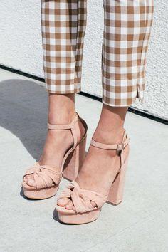 gingham + platform sandals.
