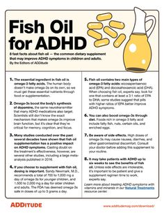 This image speaks about fish oil and 8 different facts as they relate to the treatment of ADHD, as omega-3 fatty acids improve ADHD symptoms like distractibility, and boost dopamine production. The importance of dosage, side effects and diet are also noted. This image was retrieved from ADDitude Magazine, and is a reputable source. IMAGE