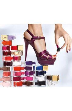 Stacks on stacks of color. Yves Saint Laurent nail polish.
