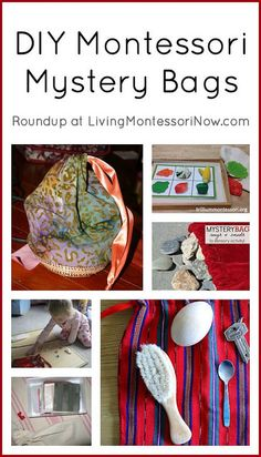 DIY Montessori mystery bags, including DIY drawstring bag tutorials (both sewn and no-sew drawstring bags), ideas for a variety of mystery bags, and mystery bag presentations