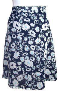 Jaclyn Smith Floral Career Chiffon Overlay Pretty Skirt Navy Blue
