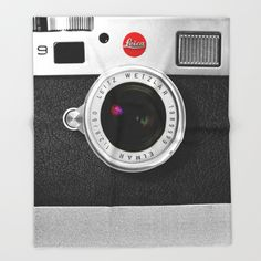 classic retro Black silver Leather vintage camera iPhone 4 4s 5 5c, ipod, ipad case Throw Blanket
