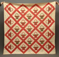 19th c. red and green on white baskets quilt seen at Copake Auction