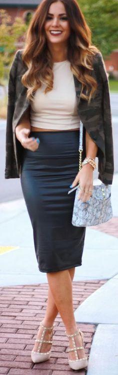 pinterest: @thisgirlcam love the skirt and Camo jacket
