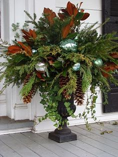 Gorgeous Christmas urns for the holidays add a festive elegance to the entryway and say welcome to your holiday guests. Christmas Urns, Winter Christmas, All Things Christmas, Christmas Holidays, Christmas Wreaths, Fall Winter, Southern Christmas, Christmas Greenery, Christmas Vacation