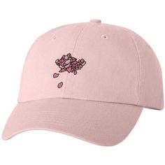 PINK FLOWER PETAL HAT ($25) ❤ liked on Polyvore featuring accessories, hats, embroidery hats, pink hat, flower hat, adjustable hats and embroidered hats