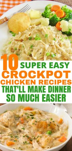 These crockpot chicken recipes are perfect for days when you're unable to spend your day cooking in the kitchen. I especially love the crockpot chicken and dumplings recipe! | Crockpot Chicken Recipes | Slow Cooker Chicken Recipes | #crockpotchickenrecipes #slowcookerchickenrecipes #chickenrecipes