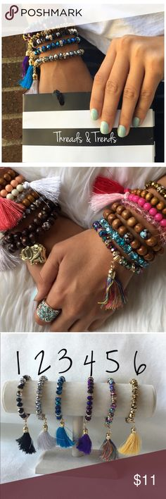 Crystal Beads Boho Bracelet's Beautiful colorful crystal bracelets with tassel detailing.  Pair them together or pair them alone. These bracelets are use to add a touch of glam and boho vibes to any outfit. 1 for $11 or 2 for $15 Threads & Trends Jewelry Bracelets