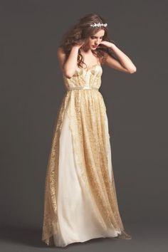 Sarah Seven wedding dress #gold #corsettop