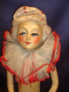 Antique-C1920-Blossom-Boudoir-Doll-Silk-Face-Handpainted-Features-30-SwivelHead