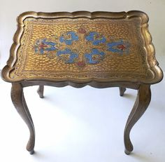 Italian Florentine Table Tray Gold Red Blue Ornate Painted Side