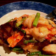Last night's dinner ...Steak lobster and shrimp oscar. Yum!
