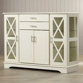 Features:  -X style door with 2 adjustable tempered glass shelves on each side.  -One adjustable shelf behind the wood doors for storage.  -Finish: Antique White.  -2 Drawers.  -Quahog collection.  Pr