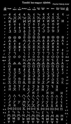 Ancient Hun-Magyar alphabet (Old Hungarian script) Ancient Alphabets, Ancient Runes, Ancient Scripts, Ancient Art, Ancient History, Alphabet Symbols, Typography Alphabet, Book Of Shadows, Oeuvre D'art