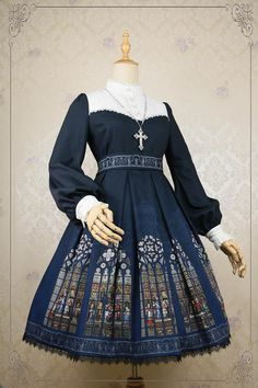 AcYutHorizon -Immortals- Gothic Stained Glass Printed Lolita OP Dress - Preorder