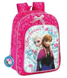 Mochila Elsa y Anna. Frozen: El Reino del Hielo 26x34x11cm Preciosa mochila en color rosa con la imagen de Anna y Elsa basadas en la película de animación Frozen: El Reino del Hielo.