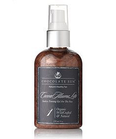 Chocolate Sun Cocoa Illume organic sunless tanning, organic sunscreen, natural sunless tanning and organic self tanner available now at Spirit Beauty Lounge.