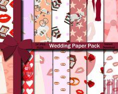 Wedding Paper Pack, Wedding Paper, Wedding Seamless Pattern, Seamless Pattern, Wedding Day,  Instant Download, Digital Paper