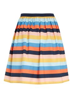 The Cressida Colour Stripe Skirt features a fun, colourful stripe design and a mini length. A vintage-inspired, stand-out style for summer.