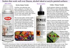 Alcohol ink sealers for Stazon or acrylic paintings Kamar Varnish Krylon or Golden Polymer Varnish