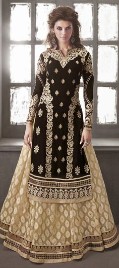 413426: Pick Of The Day - our designer has chosen this skirt-kurta for the ultimate runway style.  #anarkali #Partywear #bridalwear #black #beige #embroidery #stonework #runway