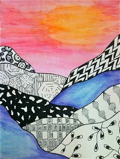 8th Grade: Zentangle Landscapes - ART at Mayfield Woods Middle School!