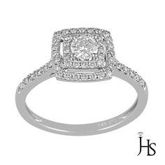 14K WhiteGold 0.50 CT H - I Round Diamond Double Halo Engagement/Fashion Ring #WomensFancyEngagementRingJHS #Engagement