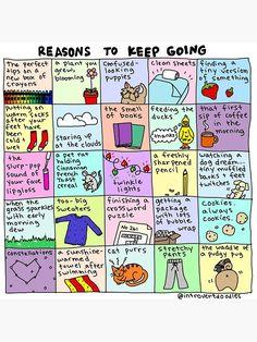 'Reasons To Keep Going' Poster by Introvert Doodles - Gesundheit Werden Just Keep Going, Self Care Activities, Coping Skills, Self Improvement, Self Help, Bujo, Self Love, Doodles, Positivity