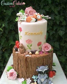 Woodland baby shower cake pretty cakes в 2019 г. Baby Shower Cake Decorations, Baby Shower Cake Pops, Fondant Cakes, Cupcake Cakes, Woodland Theme Cake, Cake Designs For Kids, Fox Cake, Christmas Cake Pops, Biscuits