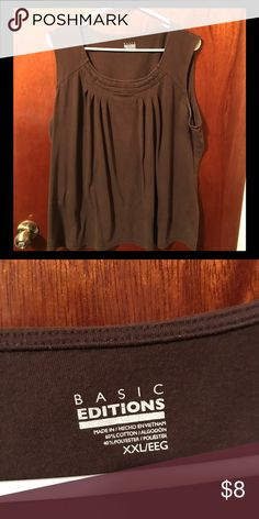 XXL Basic Edition Brown Sleeveless Blouse Gentle Used & In Good Condition. No tears, stains, rips, or loose stitching Except for some Deodorant Stains in arm pits. Clean & Washed (Gain Island Breeze, Free N Clear Detergent, & Snuggles Original Dryer Sheets). No Pets or Smoking in Home. Basic Editions Tops Blouses
