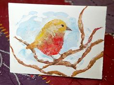Your bird card is now complete! Finish with a sweet note inside and send off your personal, handmade Christmas cards.
