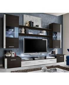 Meble Furniture Fresh Wenge/White Contemporary Wall-Unit in Wenge/White Series of glossy contemporary Living Room Wall Units, Living Room Tv Unit Designs, Living Room Cabinets, Living Rooms, Modern Tv Unit Designs, Modern Tv Wall Units, Wall Unit Designs, Black Walls, White Walls