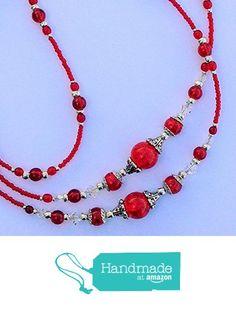 Beaded Lanyards, Id Holder, Swarovski Crystals, Badge, Beaded Necklace, Amazon, Bracelets, Red, Handmade