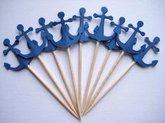 24 Navy Blue Anchor Party Picks - Cupcake Toppers - Toothpicks - Food Picks - die cut punch FP217. $4,50, via Etsy.